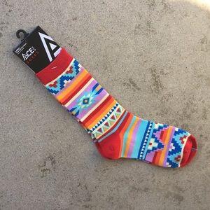 Colorful Abstract Stripe Fair Isle Pattern Socks